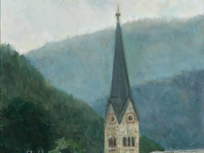 Clocktower Church At Hallstatt, Austria